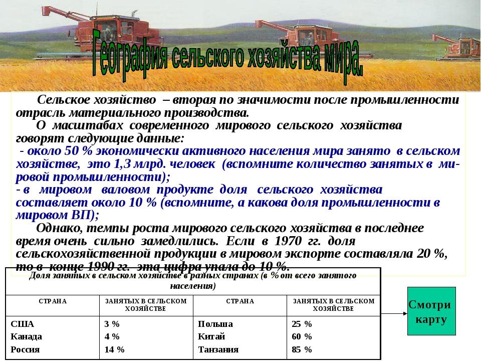 Сельское хозяйство – вторая по значимости после промышленности отрасль матер...