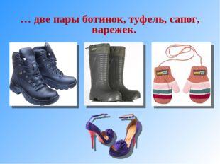 … две пары ботинок, туфель, сапог, варежек.