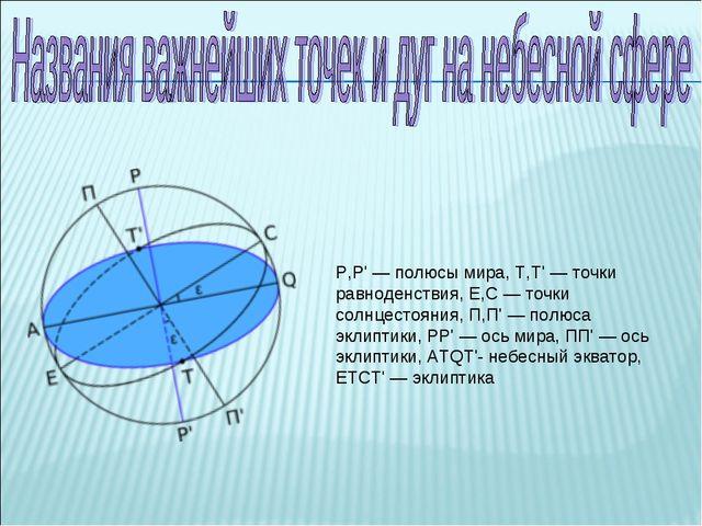 P,P'— полюсы мира, T,T'— точки равноденствия, E,C— точки солнцестояния...