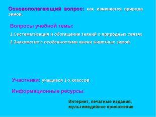 Вопросы учебной темы: 1.Систематизация и обогащение знаний о природных связях