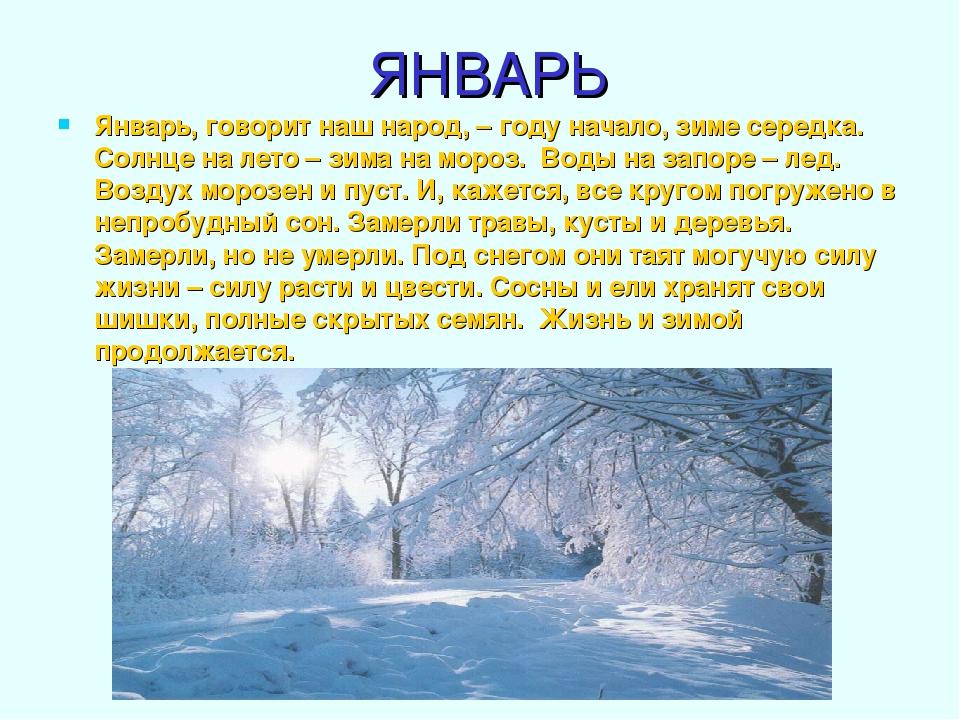 ЯНВАРЬ Январь, говорит наш народ, – году начало, зиме середка. Солнце на лето...