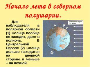 Начало лета в северном полушарии. Для наблюдателя в полярной области (1) Со