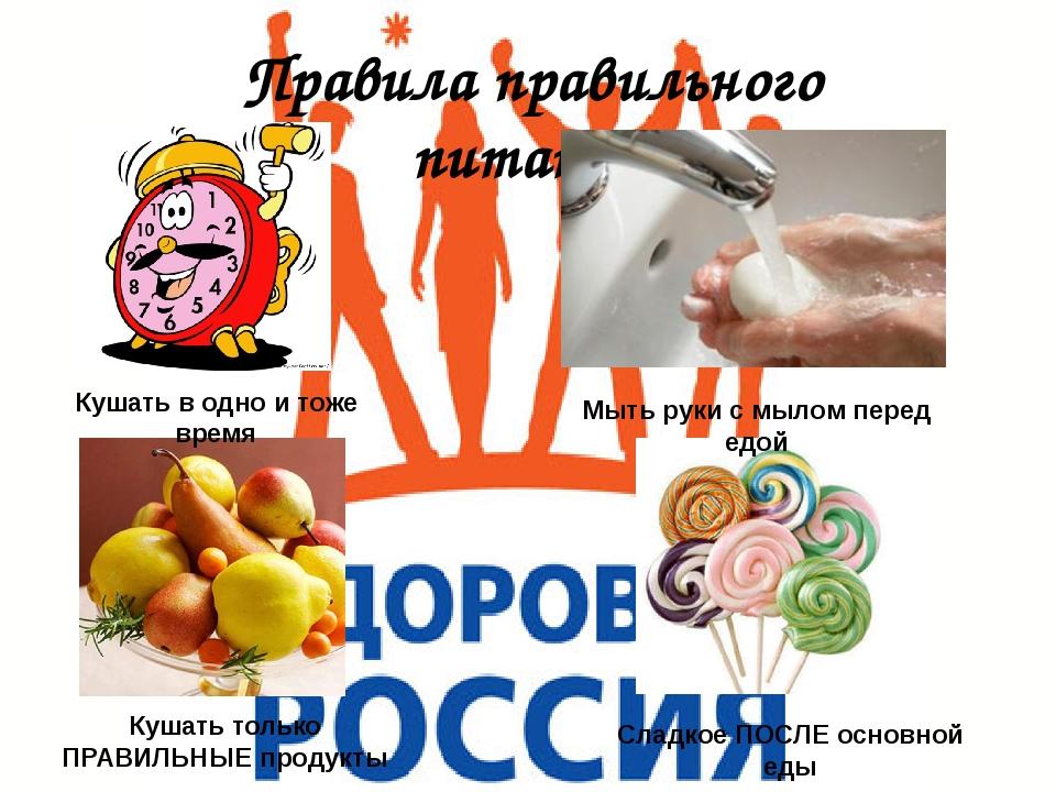 Правила правильного питания Кушать в одно и тоже время Мыть руки с мылом пере...
