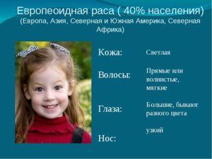 Европеоидная раса ( 40% населения) (Европа, Азия, Северная и Южная Америка, С