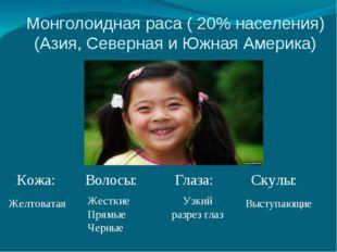 Монголоидная раса ( 20% населения) (Азия, Северная и Южная Америка) Кожа: Вол