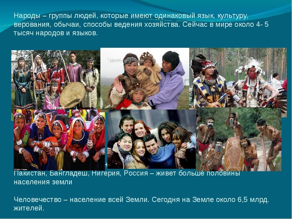Народы – группы людей, которые имеют одинаковый язык, культуру, верования, об...