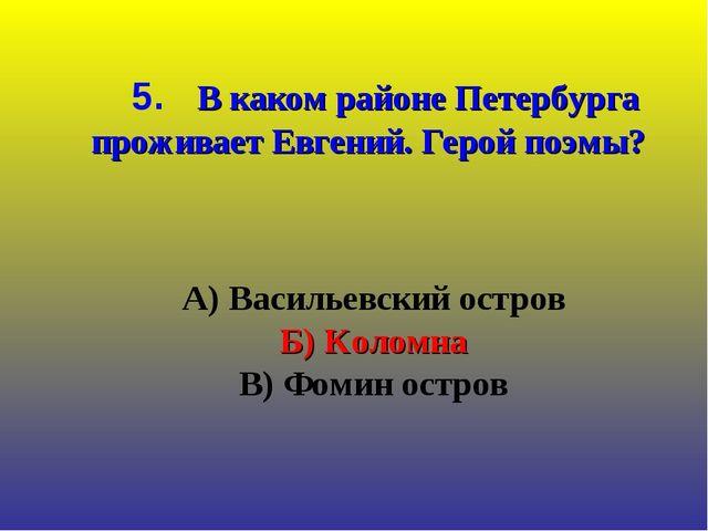 А) Васильевский остров Б) Коломна В) Фомин остров 5. В каком районе Петербур...