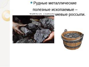 Рудные металлические полезные ископаемые –титано-циркониевые россыпи.