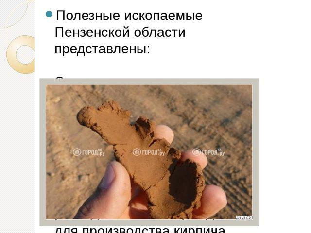 Полезные ископаемые Пензенской области представлены: Сырье для производства с...