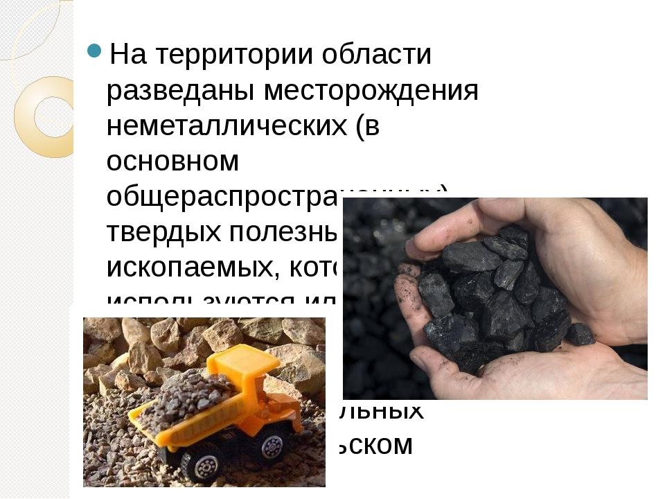 На территории области разведаны месторождения неметаллических (в основном общ...