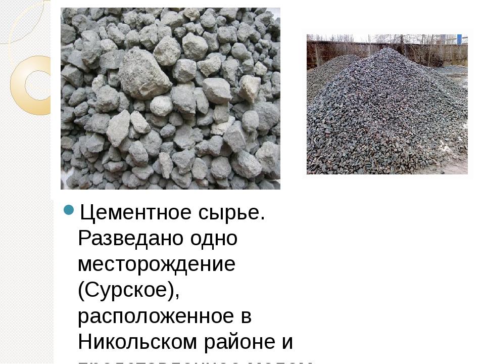 Цементное сырье. Разведано одно месторождение (Сурское), расположенное в Нико...