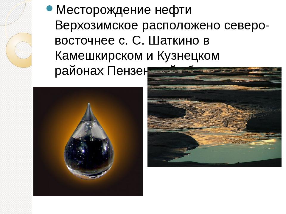 Месторождение нефти Верхозимское расположено северо-восточнее с. С. Шаткино в...