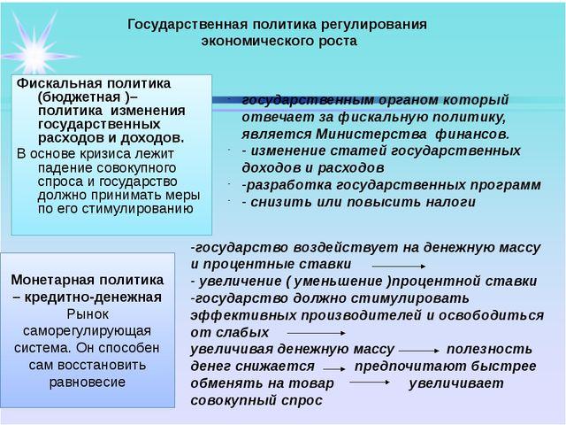 Государственная политика регулирования экономического роста Фискальная полит...