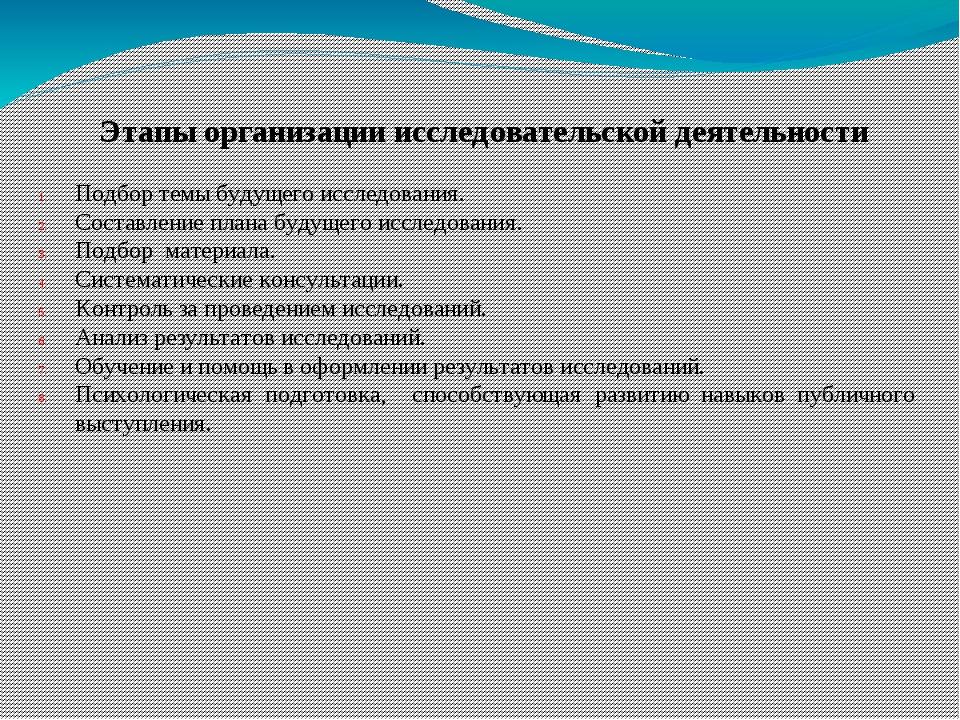 Этапы организации исследовательской деятельности Подбор темы будущего исслед...