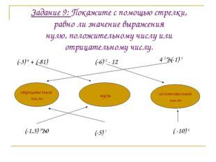 Задание 9: Покажите с помощью стрелки, равно ли значение выражения нулю, поло