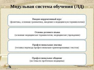 Модульная система обучения (ЛД) Вводно-коррективный курс (фонетика, основная