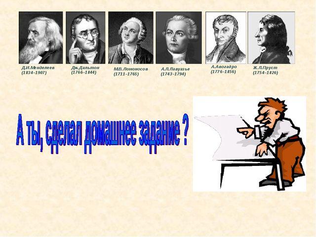 М.В.Ломоносов (1711–1765) Дж.Дальтон (1766–1844) А.Л.Лавуазье (1743–1794) А....