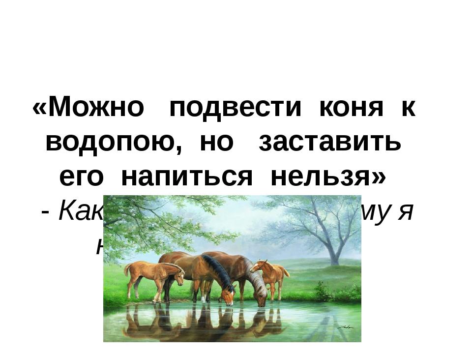 «Можно подвести коня к водопою, но заставить его напиться нельзя» - Как вы ду...