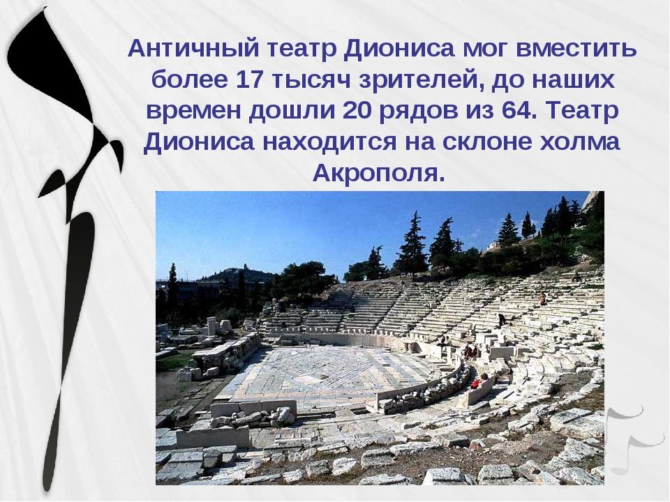 Античный театр Диониса мог вместить более 17 тысяч зрителей, до наших времен...
