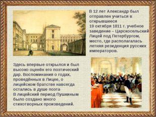В 12 лет Александр был отправлен учиться в открывшееся 19 октября 1811 г. уч