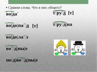 • Сравни слова. Что в них общего? во|да´ во|до|па´⁞д во|до|ла´⁞з во´⁞д|ны|е п