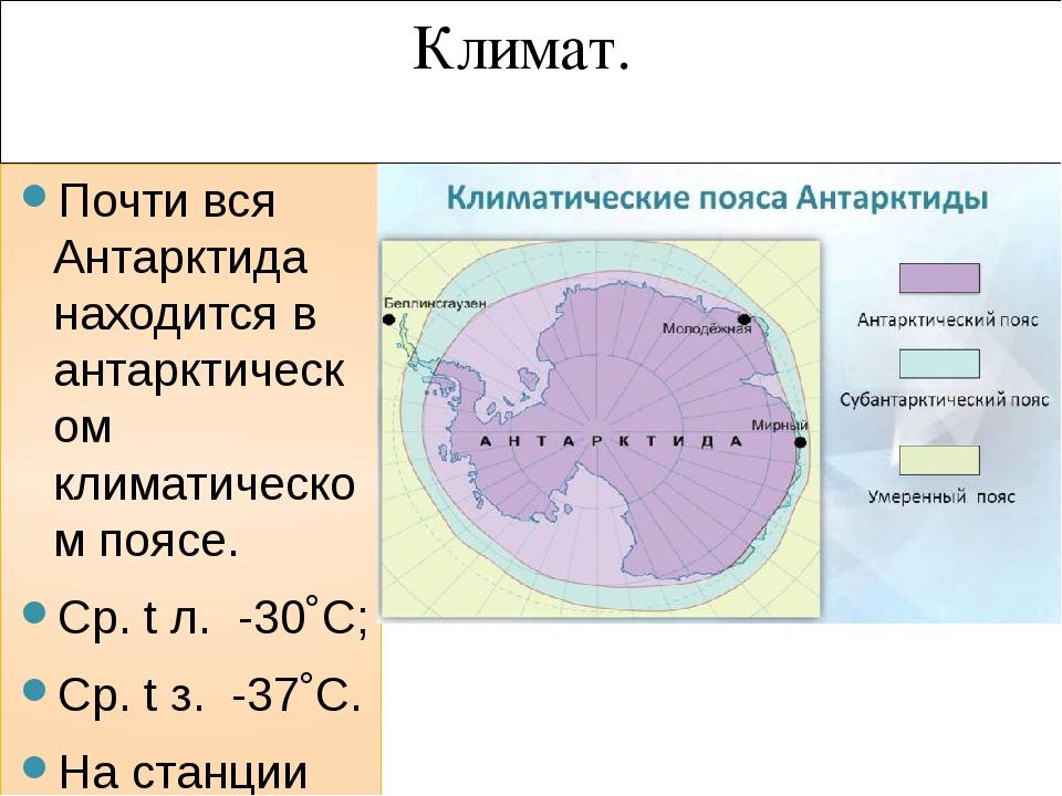 Климат. Почти вся Антарктида находится в антарктическом климатическом поясе....