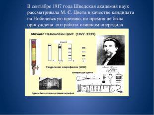 В сентябре 1917 года Шведская академия наук рассматривала М. С. Цвета в каче