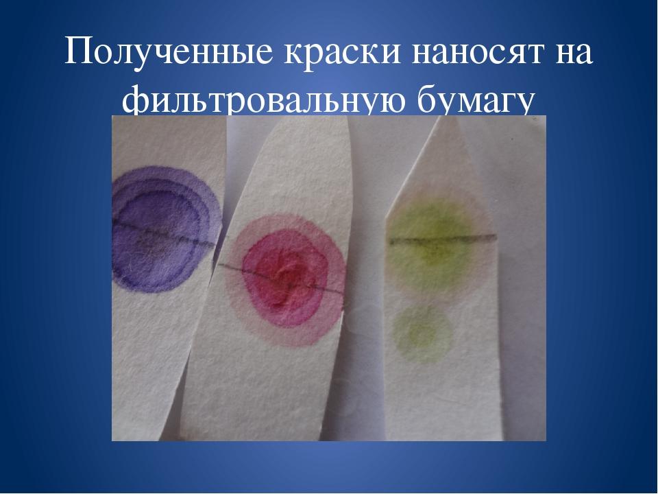 Полученные краски наносят на фильтровальную бумагу