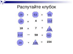 Распутайте клубок 28 + 53 = 81 28 х 4 = 112 18 х 7 = 126 112 — 59 = 53 28 + 1