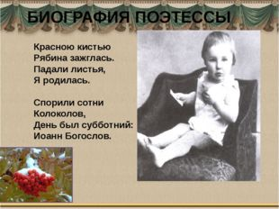 БИОГРАФИЯ ПОЭТЕССЫ Красною кистью Рябина зажглась. Падали листья, Я родилась.