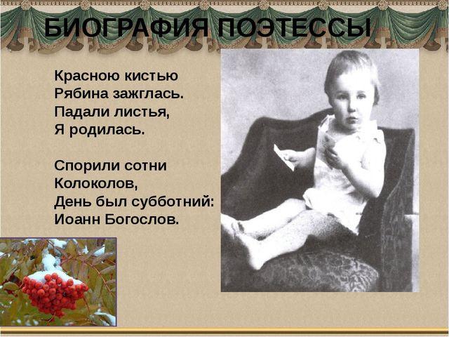 БИОГРАФИЯ ПОЭТЕССЫ Красною кистью Рябина зажглась. Падали листья, Я родилась....
