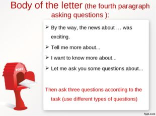 Body of the letter (the fourth paragraph asking questions ): By the way, the