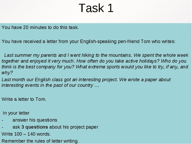 Task 1 You have 20 minutes to do this task. You have received a letter from y...
