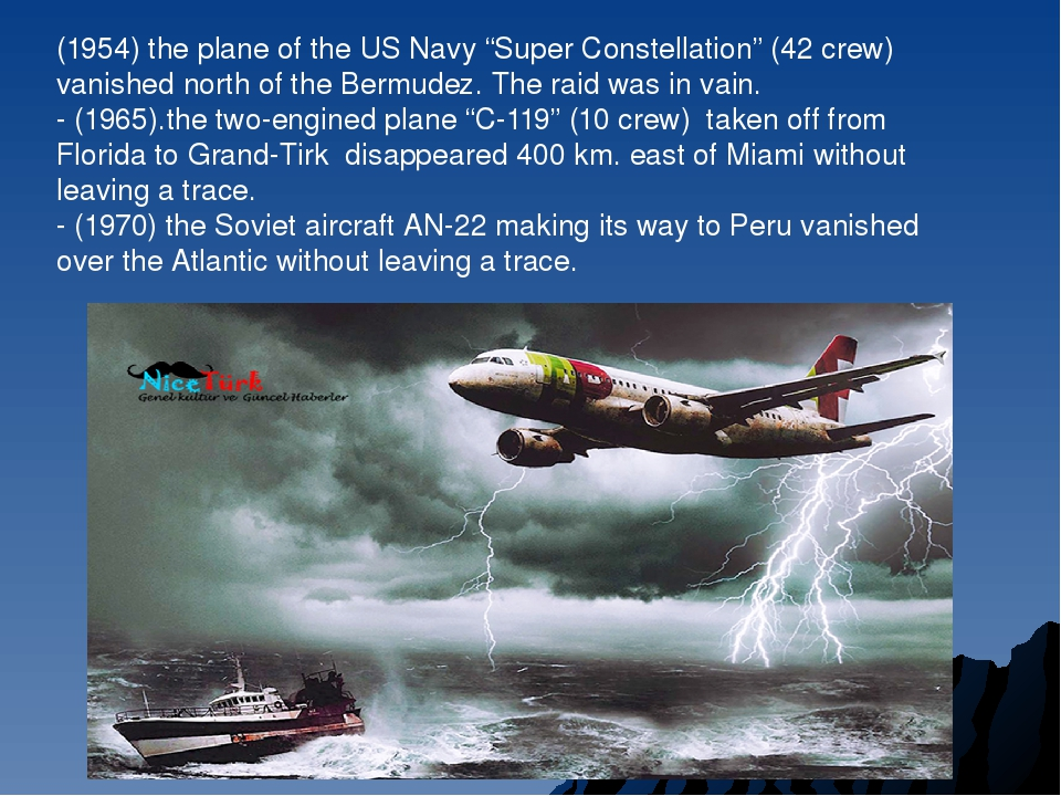 "(1954) the plane of the US Navy ""Super Constellation"" (42 crew) vanished nort..."