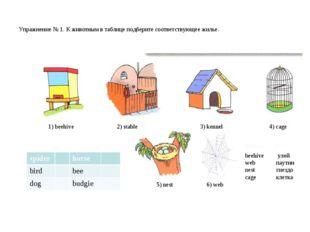 Упражнение № 1. К животным в таблице подберите соответствующее жилье. 1) bee