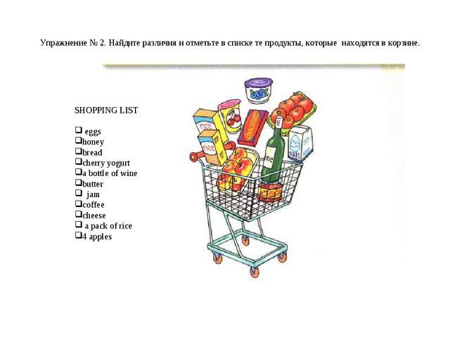 Упражнение № 2. Найдите различия и отметьте в списке те продукты, которые нах...