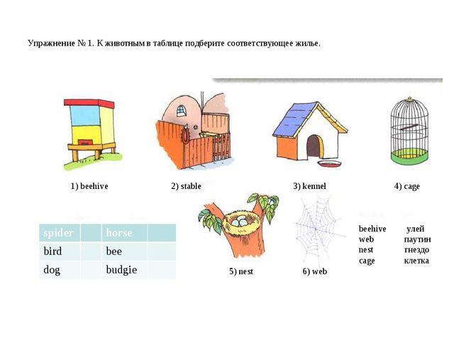 Упражнение № 1. К животным в таблице подберите соответствующее жилье. 1) bee...