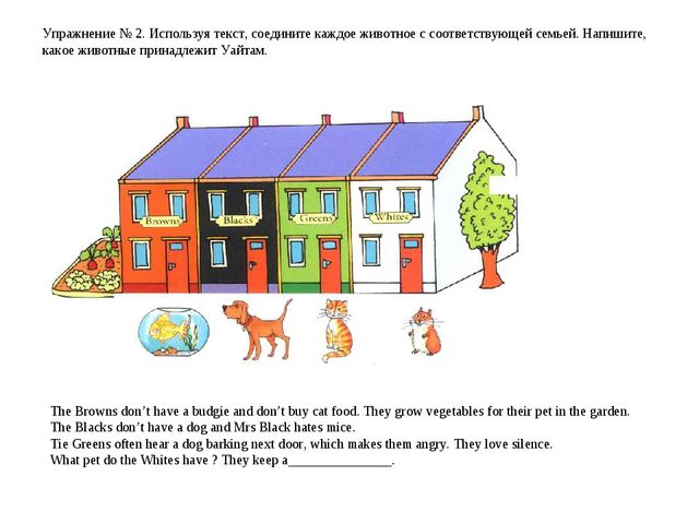 Упражнение № 2. Используя текст, соедините каждое животное с соответствующей...
