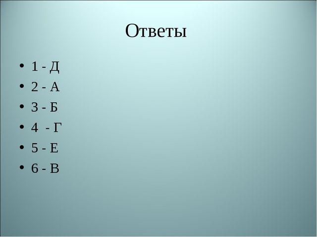 Ответы 1 - Д 2 - А 3 - Б 4 - Г 5 - Е 6 - В