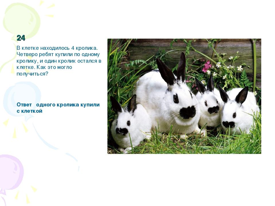 24 В клетке находилось 4 кролика. Четверо ребят купили по одному кролику, и о...