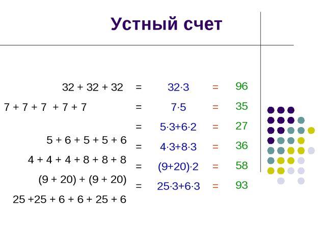 Устный счет 32 + 32 + 32 7 + 7 + 7 + 7 + 7 5 + 6 + 5 + 5 + 6 4 + 4 + 4 + 8 +...
