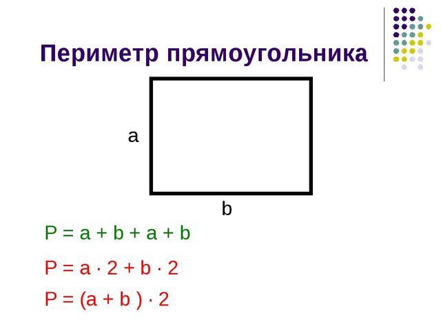Периметр прямоугольника a b P = a + b + a + b P = a ∙ 2 + b ∙ 2 P = (a + b )...