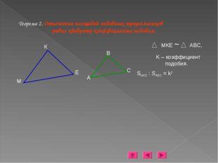 Теорема 2. Отношение площадей подобных треугольников равно квадрату коэффицие