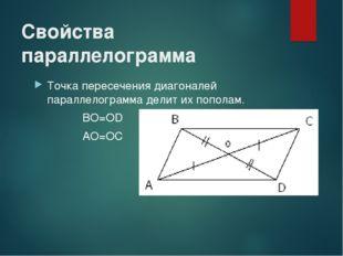 Свойства параллелограмма Точка пересечения диагоналей параллелограмма делит и