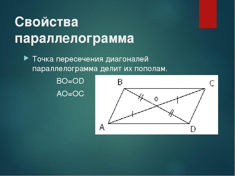 Свойства параллелограмма Точка пересечения диагоналей параллелограмма делит и...