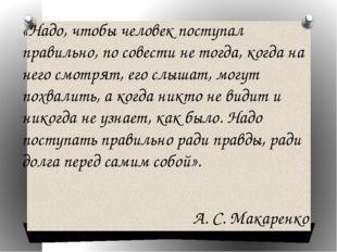 «Надо, чтобы человек поступал правильно, по совести не тогда, когда на него с