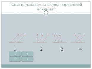 Какие из указанных на рисунке поверхностей зеркальные? 1 2 3 4