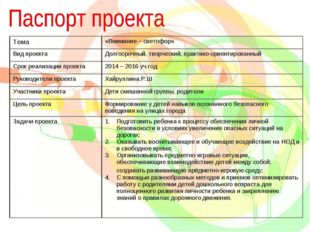 Тема«Внимание – светофор» Вид проектаДолгосрочный, творческий, практико-ори