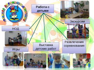 Работа с детьми НОД Игры Выставка детских работ Экскурсии Развлечения соревно