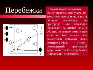 Перебежки Каждый игрок нападения, после правильного удара по мячу (или ввода